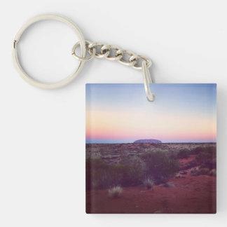 Röda Australien Fyrkantigt Dubbelsidigt Nyckelring I Akryl