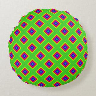 Röda blått för geometrisk diamantgrönt rund kudde