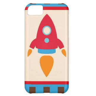 Röda blått för gullig rymden för utrymmefraktraket iPhone 5C fodral