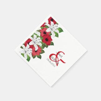 Röda blommigtblommor för Cranberry Pappersservett