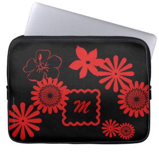 Röda blommor för bärbar datordatorsleeve med monog laptopskydd fodral