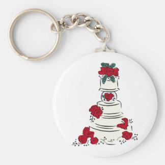 Röda blommor för bröllopstårta rund nyckelring