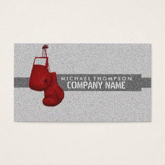 Röda boxninghandskar, korn verkställer, boxningen visitkort