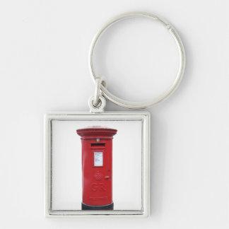 Röda brittiska Post boxas Fyrkantig Silverfärgad Nyckelring