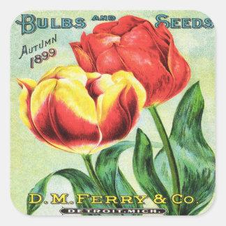 Röda Bubs och frö och gul tulpan Fyrkantigt Klistermärke