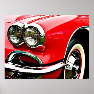 Röda Corvette billyktor Poster