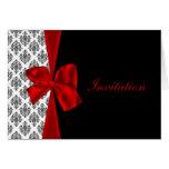 röda damastast bröllopinbjudankort hälsnings kort