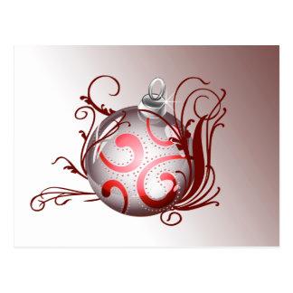 röda eleganta julhälsningvykort vykort