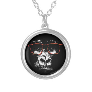 Röda exponeringsglas för gorilla silverpläterat halsband