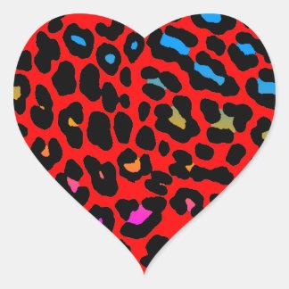 (Röda) fläckar för Leopard för Corey tiger80-tal, Hjärtformat Klistermärke