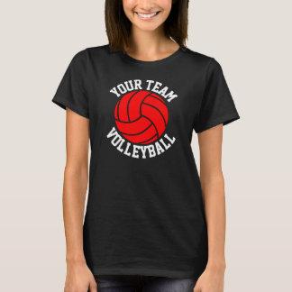 Röda för lagnamn för volleyboll beställnings- t shirt