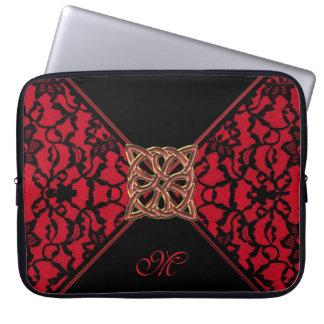 Röda för Monogram hänger lös den Celtic och svart Laptop Datorfodral