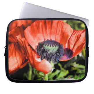 Röda gåvor för vallmo- & Stamenblommaflorakonst Laptop Fodral