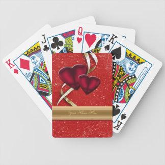 Röda glitterhjärtor spelkort