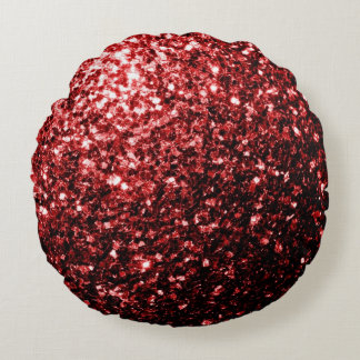 Röda glittersparkles för härlig glamour rund kudde