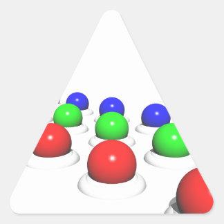 Röda gröna blåttSpheres Triangelformat Klistermärke