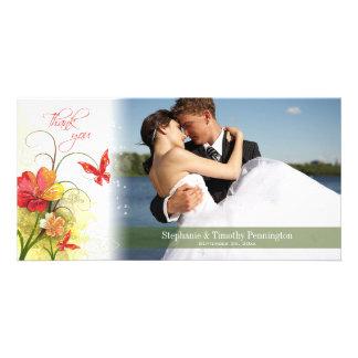 Röda gröntblommor + fjärilsbröllop tackar dig fotokort