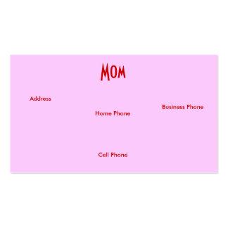 Röda gul ros för mamman profilerar jag kortet set av standard visitkort