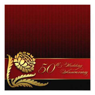 röda guld- inbjudningar för 50th bröllopsdag