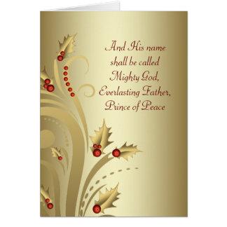 Röda guld- kristna julkort hälsningskort
