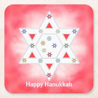 Röda Hanukkah stjärna och snöflingor Underlägg Papper Kvadrat