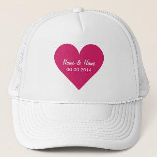 Röda hattar för hjärtavalentinanpassningsbar truckerkeps