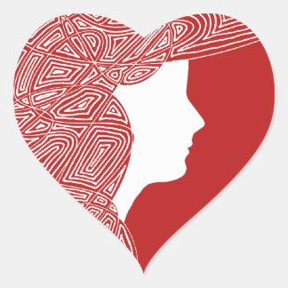 Röda hjärtaklistermärkear för dam hjärtformat klistermärke