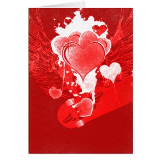 Röda hjärtor med vingar hälsningskort