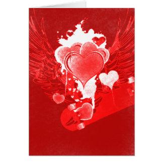 Röda hjärtor med vingarSkateboardvalentin kort