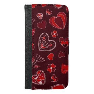 Röda hjärtor och blommor ringer plånbokfodral iPhone 6/6s plus plånboksfodral