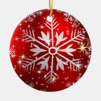 Röda julstjärnor & snöflingor - julgransprydnad keramik