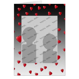 Röda kärlekhjärtor. Modell Hälsningskort