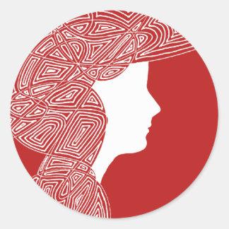 Röda klistermärkear för dam runt klistermärke