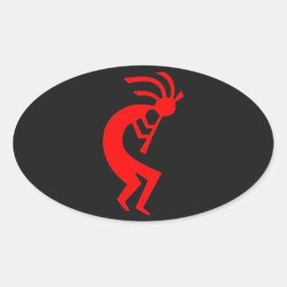 Röda Kokopelli Ovalt Klistermärke