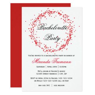 Röda konfettiar - Bachelorette partyinbjudan 12,7 X 17,8 Cm Inbjudningskort