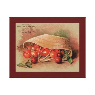 Röda körsbär för vintage i en basket canvastryck