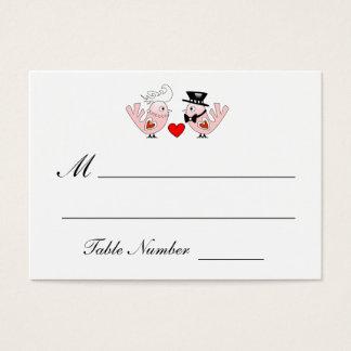 Röda kort för placering för rosa- & vitlove