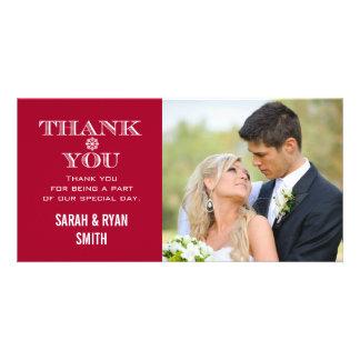 Röda kort för tack för Snowflakebröllopfoto Foto Kort
