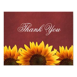 Röda kort för tack för svart tavlasolrosbröllop 10,8 x 14 cm inbjudningskort
