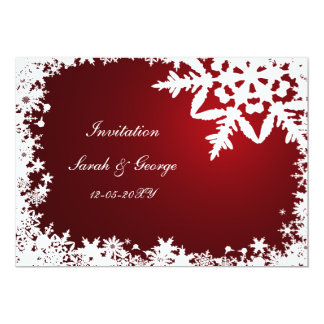 röda kort för vinterbröllopinbjudan inbjudan