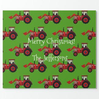 Röda lantgårdtraktorer på grön jul presentpapper