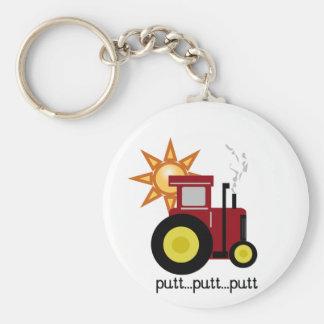 Röda lantgårdtraktorT-tröja och gåvor Rund Nyckelring