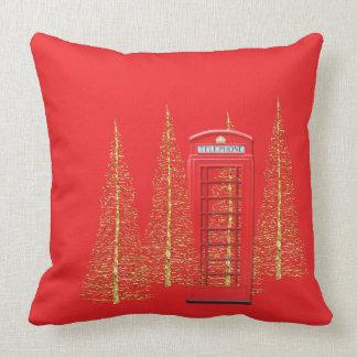 Röda London ringer boxas den guld- träddekorativ Kudde
