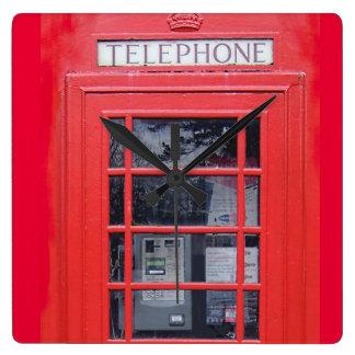 Röda London ringer boxas Fyrkantig Klocka