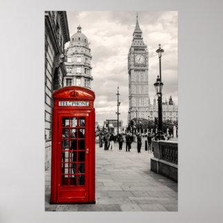 Röda London ringer stora Ben landskap affischen Poster