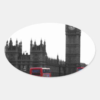 röda London turnerar bussen och stora Ben Ovalt Klistermärke