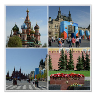 Röda Moscow kvadrerar Collageaffischen Poster