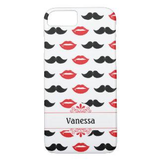 Röda mustasch och läppar & svart mönster