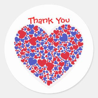 Röda och blåtthjärtor för tack, runt klistermärke