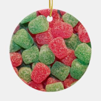 Röda och gröna gelékarameller julgransprydnad keramik